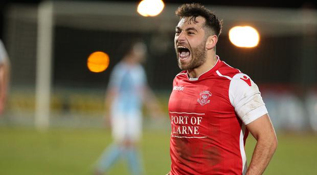 David McDaid scored as Larne upset Ballymena United in the Irish Cup quarter-final last season. Now they want another Premiership scalp.