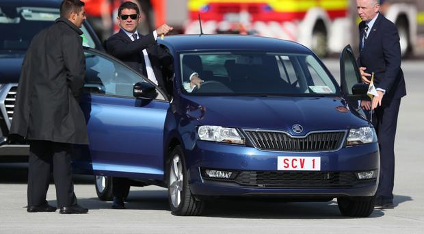 The Skoda car that transported Pope Francis as he arrived at Dublin International Airport (Brian Lawless/PA)