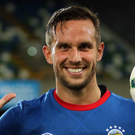 Five-star man: Linfield striker Andy Waterworth celebrates last night at Windsor Park