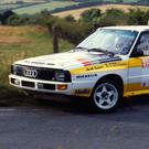 Victory romp: Walter Rohrl on his way to his stunning 1984 Ulster Rally win in the mighty Audi Quattro
