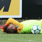 Oh Carroll: Roy Carroll goes down after a clash with Joe Gormley