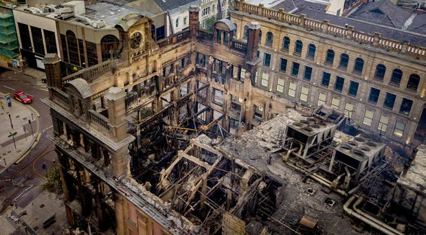 The devastated interior of the Bank Buildings after Tuesday's fire