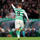 Celtics Leigh Griffiths celebrates scoring his side's first goal of the game during the UEFA Europa League Play-Off, Second Leg match at Celtic Park, Glasgow. PRESS ASSOCIATION Photo. Picture date: Thursday August 30, 2018. See PA story SOCCER Celtic. Photo credit should read: Andrew Milligan/PA Wire