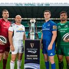 Irish challenge: Pictured at the launch of the 2018-19 Guinness PRO14 season at Celtic Park in Glasgow are (L-R) Tadhg Beirne (Munster), Rory Best (Ulster), Jonathan Sexton (Leinster) and Jarrad Butler (Connacht)