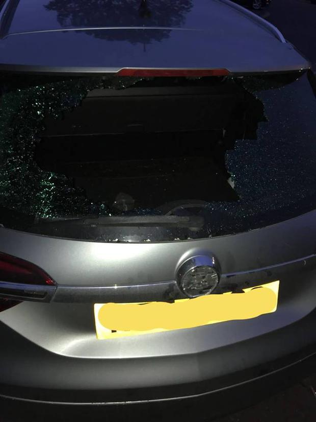 A police car was damaged during the disturbances. Credit: PSNI