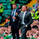 Rangers boss Steven Gerrard, left, and Celtic manager Brendan Rodgers
