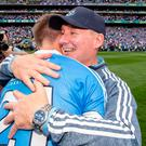 Huge relief: Dublin manager Jim Gavin with Michael Fitzsimons