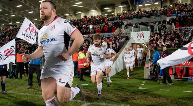 Ulster's Andy Warwick and John Andrew make their way out onto the pitch.