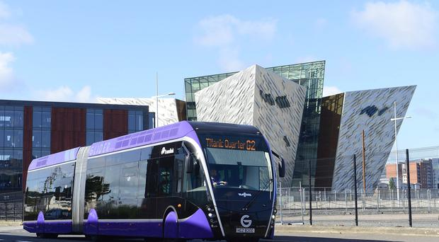 The new £90m Belfast Rapid Transit Glider service has become fully operational. Picture By: Arthur Allison/ Pacemaker.