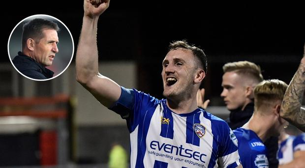 Coleraine's players celebrated success at Seaview last night and Crusaders boss Stephen Baxter (inset) says the jubilation will be remembered.