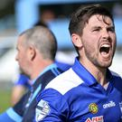 Newry's Darren King celebrates his side's win over Cliftonville.