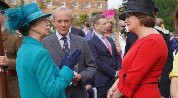 Her Royal Highness the Princess Royal speaks to DUP leader Arlene Foster at the Garden Party in Hillsborough Castle. Photo by Aaron McCracken