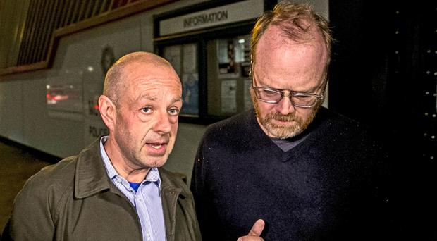 Barry McCaffrey, left, and Trevor Birney were arrested (Liam McBurney/PA)