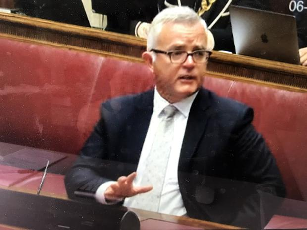 Former DUP Minister Jonathan Bell gives his evidence at the RHI Inquiry at Stormont today. Photo by Pacemaker.