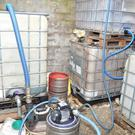 The fuel laundering plant inside the shed.