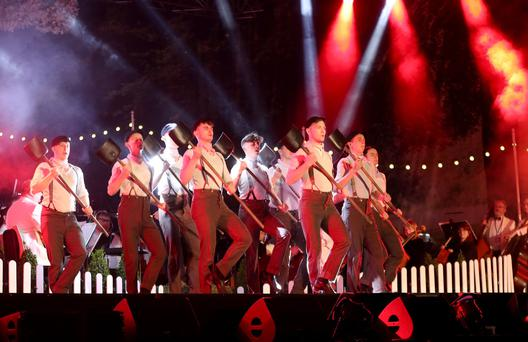 Some of the cast of Titanic dance performing at this year's BBC Proms In The Park at the Titanic Slipways in Belfast in front of an audience of around 11,000 - William Cherry/Press Eye