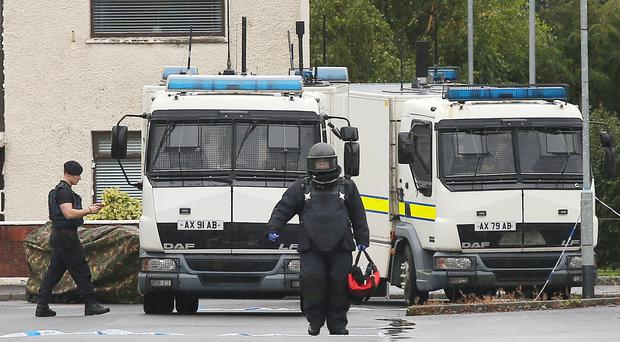 The scene at Shore Crescent in north Belfast where police and ATO are dealing with a security alert. Picture by Jonathan Porter/PressEye.com