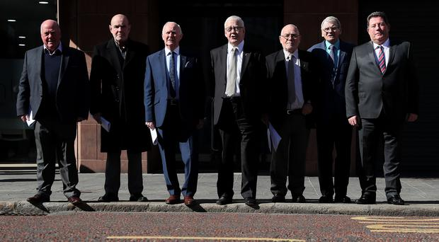 Seven of the so-called Hooded Men (Brian Lawless/PA)