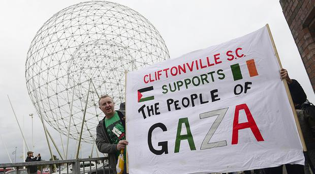 Protest held in Belfast over Northern Ireland football match with Israel. Picture By: Arthur Allison/Pacemaker.