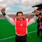 Road to glory: Derry manager Eamonn Coleman after victory over Dublin in the 1993 All-Ireland semi-final at Croke Park