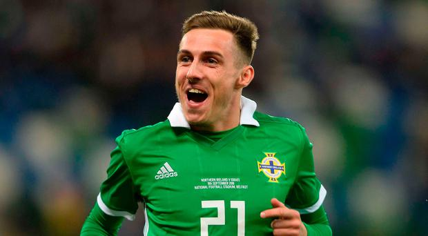 Gavin Whyte celebrates his debut goal for Northern Ireland.