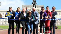 The launch of the 2019 Belfast City Marathon at Stormont. L-R David Seaton MBE (Chairman of Belfast City Marathon), Elly McKee (Deep RiverRock), Noel Thompson (BBC Presenter and Ambassador of Stroke Association), Shirley McCay (Womens Hockey World Cup Finalist and Cancer Focus NI Ambassador), Jackie Fullerton MBE (Sports Journalist and Ambassador for BART), Rhys McClenaghan (Gold Medal Gymnast and Ambassador for Action Mental Health), Mike Patton (Air Ambulance NI) and the Deputy Lord Mayor of Belfast Emmet McDonough-Brown. ©Press Eye/Darren Kidd