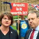 DUP leader Arlene Foster and deputy leader Nigel Dodds in Westminster, London, following a meeting with Prime Minister Theresa May and Northern Ireland Secretary Karen Bradley to discuss the powersharing impasse. PRESS ASSOCIATION Photo. Picture date: Wednesday September 12, 2018. Stormont has not sat for 20 months amid serious differences between the DUP and Sinn Fein. See PA story ULSTER Politics. Photo credit should read: Stefan Rousseau/PA Wire