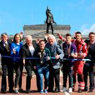 On your marks: (from left) David Seaton MBE (Belfast City Marathon Chairman), Elly McKee (Deep RiverRock), Noel Thompson (BBC and Ambassador for Stroke Association), Shirley McCay (Hockey World Cup Finalist and Cancer Focus NI Ambassador), Jackie Fullerton MBE (Broadcaster and Ambassador for BART), Rhys McClenaghan (Gold Medal gymnast and Ambassador for Action Mental Health), Mike Patton (Air Ambulance NI) and the Deputy Lord Mayor of Belfast Emmet McDonough-Brown