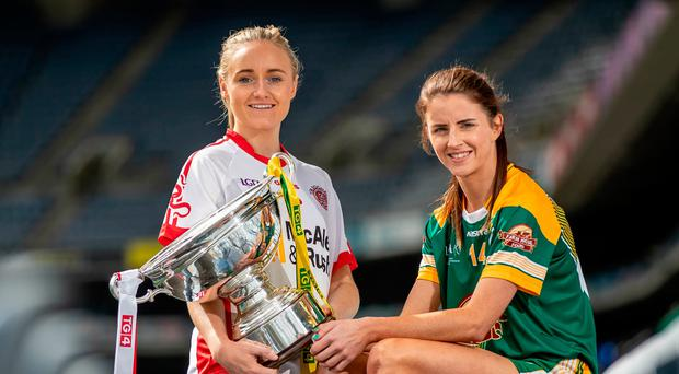 Big prize: Tyrone Ladies captain Neamh Woods (left) and Meath Ladies skipper Niamh O'Sullivan at Croke Park ahead of final
