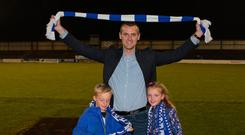 Cheers Buddie: Oran Kearney and his children, Luca and Ava