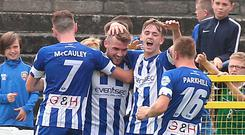 Crunch time: Stephen Lowry (second from left) knows questions will be asked of Coleraine after the exit of manager Oran Kearney