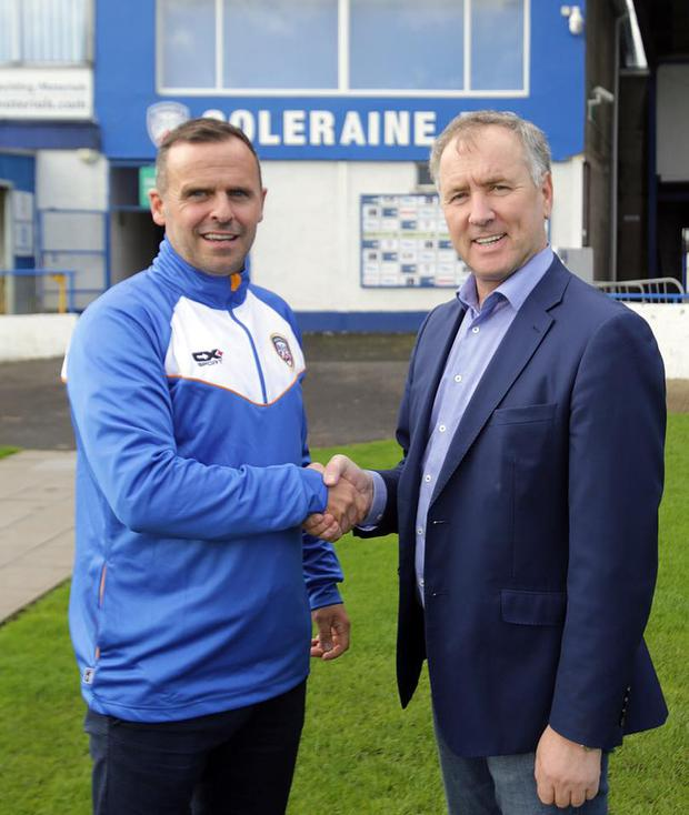New Coleraine manager Rodney McAree with chairman Colin McKendry. Credit: Coleraine FC and Maurice Bradley.