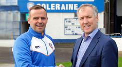 Good shakes: Rodney McAree is welcomed to Coleraine by chairman Colin McKendry