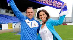 Family pride: New Coleraine boss Rodney McAree is joined by his wife Adele at the Showgrounds yesterday
