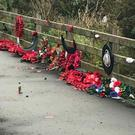 Desecrated wreaths at the site of the IRA murder of 18 soldiers (Memorial to the Narrow Water Massacre)