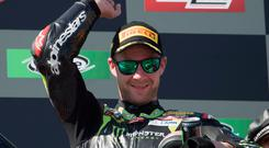 Jonathan Rea celebrates victory in Portugal earlier this month.