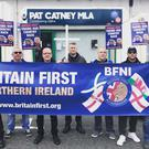 Britain First held a protest outside SDLP MLA Pat Catney's office in Lisburn. Credit: SDLP