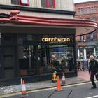 A bus crashed into the awning of Caffé Nero in Belfast city centre. Credit: BBC