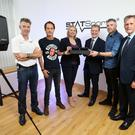 Pictured at the announcement are, from left to right: Jarlath Quinn, Statsports; Alan Clark, Statsports; Secretary of State Karen Bradley; Jeremy Fitch, Invest NI; Sean ÕConnor, Statsports and Mark Bleakney, Invest NI. Photo by Kelvin Boyes / Press Eye.