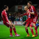 Wales player David Cotterill (centre) could be set to join St Mirren, according to reports.