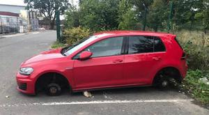 The nurse returned to her car to find all four wheels had been stolen. Credit: PSNI