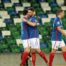 Linfield's Mark Stafford celebrates his goal against PSNI. Photo Colin McMaster/Pacemaker Press