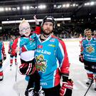 Aiming high: Giants coach Adam Keefe with big fan Blake McCaughey