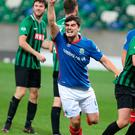 Get in: Blues' Jimmy Callacher celebrates his winner