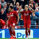 Red alert: Firmino hails his late Anfield winner