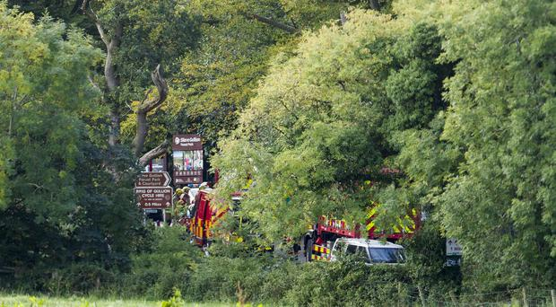 Emergency Services attend the scene at the Entrance of Slieve Gullion Forest Park outside the village of Meigh in Co Armagh. An engineer died after a tree fall. Pic Newraypics.com