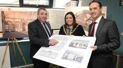 Lord Mayor, Councillor Deirdre Hargey joins Gerry McConville from Falls Community Council and Dr. Mark Browne, Deputy Secretary, Executive Office in Culturlann to announce news of £7 million regeneration project getting underway at St Comgall's on Divis Street.
