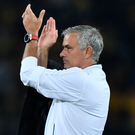 Job done: Jose Mourinho salutes the Manchester United supporters after a superb start to their Champions League campaign