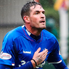 Centre stage: Kyle Lafferty will lead the line for Rangers in their Europa League game in Spain