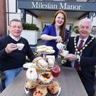 Martin Murtagh (Dementia NI), Cara Macklin (Milesian Manor) and Mid Ulster Councillor Sean McPeake at the launch of the Milesian Manor Monthly Dementia Cafe.